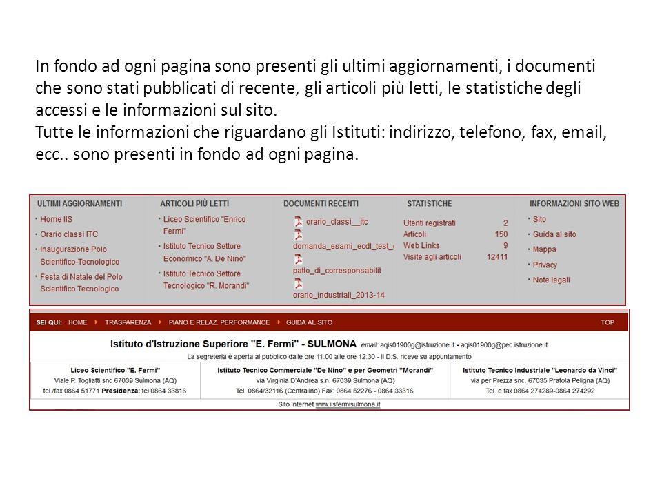 In fondo ad ogni pagina sono presenti gli ultimi aggiornamenti, i documenti che sono stati pubblicati di recente, gli articoli più letti, le statistiche degli accessi e le informazioni sul sito.
