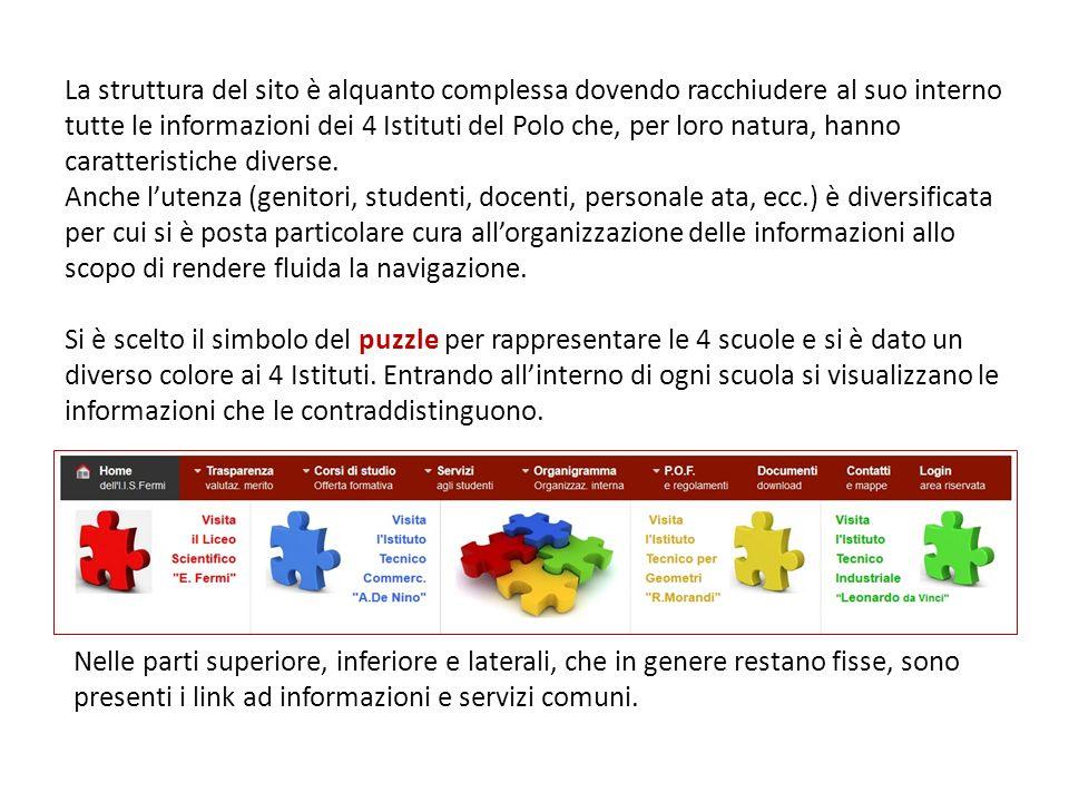 La struttura del sito è alquanto complessa dovendo racchiudere al suo interno tutte le informazioni dei 4 Istituti del Polo che, per loro natura, hanno caratteristiche diverse. Anche l'utenza (genitori, studenti, docenti, personale ata, ecc.) è diversificata per cui si è posta particolare cura all'organizzazione delle informazioni allo scopo di rendere fluida la navigazione. Si è scelto il simbolo del puzzle per rappresentare le 4 scuole e si è dato un diverso colore ai 4 Istituti. Entrando all'interno di ogni scuola si visualizzano le informazioni che le contraddistinguono.