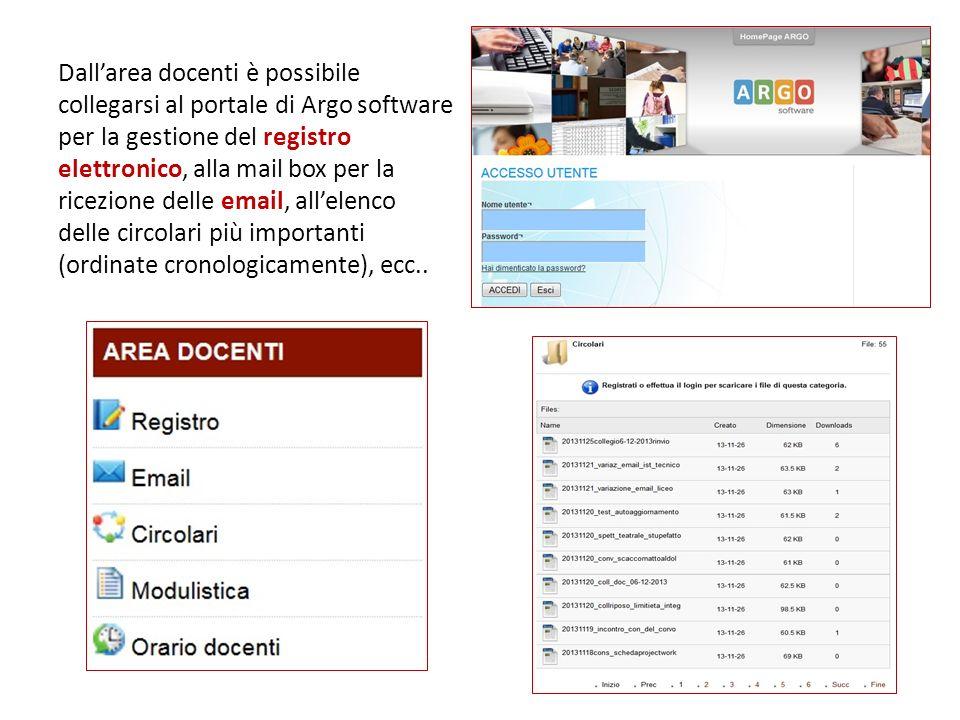 Dall'area docenti è possibile collegarsi al portale di Argo software per la gestione del registro elettronico, alla mail box per la ricezione delle email, all'elenco delle circolari più importanti (ordinate cronologicamente), ecc..