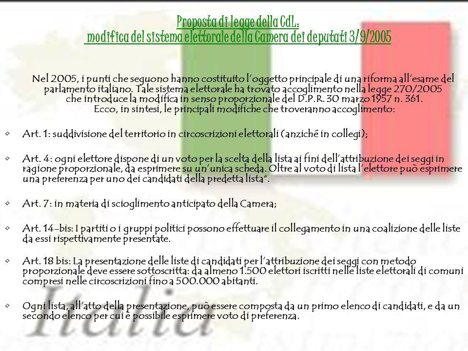 Proposta di legge della CdL: modifica del sistema elettorale della Camera dei deputati 3/9/2005