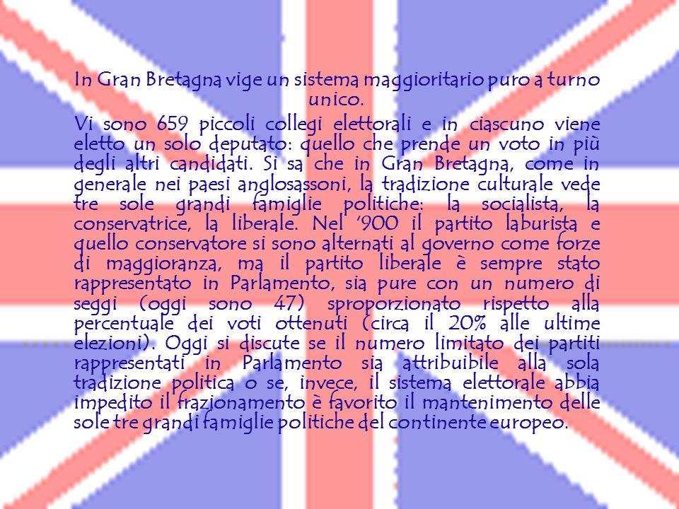 In Gran Bretagna vige un sistema maggioritario puro a turno unico.