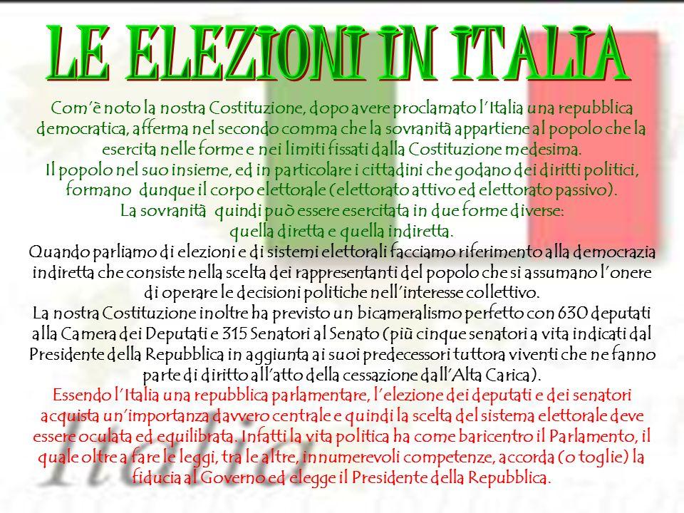 LE ELEZIONI IN ITALIA