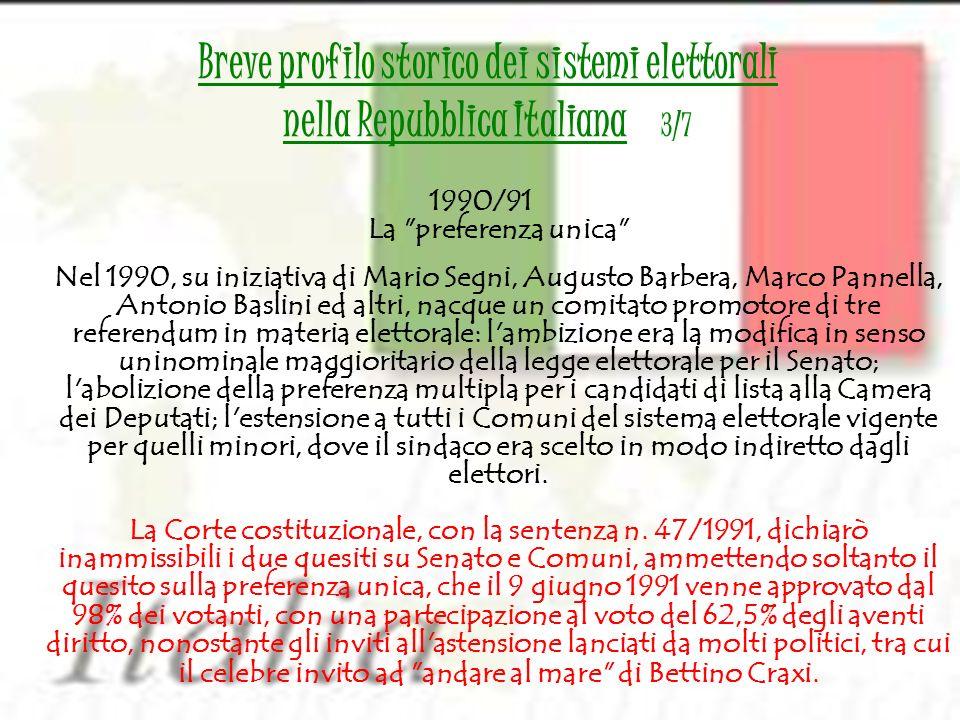 Breve profilo storico dei sistemi elettorali