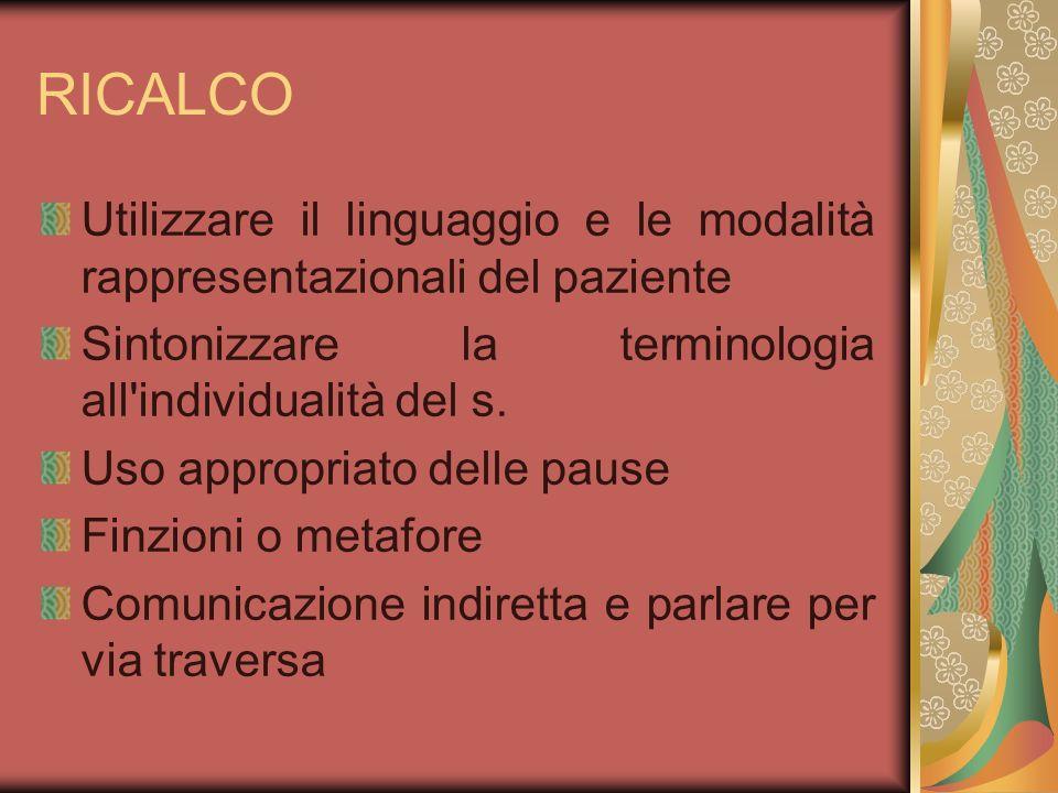 RICALCO Utilizzare il linguaggio e le modalità rappresentazionali del paziente. Sintonizzare la terminologia all individualità del s.