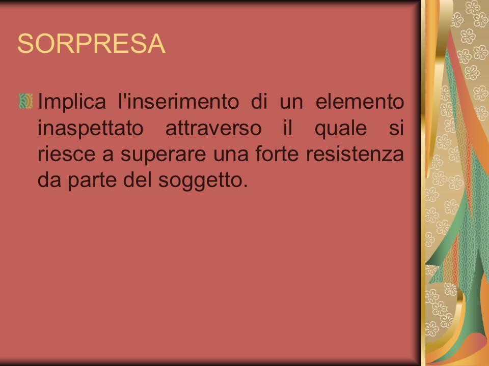 SORPRESA Implica l inserimento di un elemento inaspettato attraverso il quale si riesce a superare una forte resistenza da parte del soggetto.