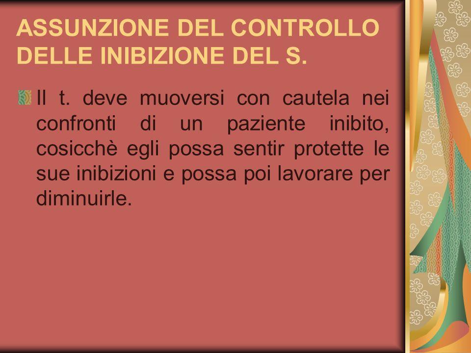 ASSUNZIONE DEL CONTROLLO DELLE INIBIZIONE DEL S.