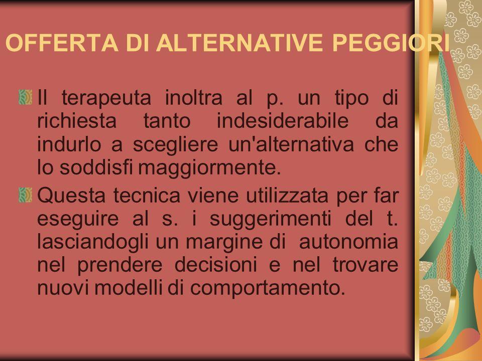 OFFERTA DI ALTERNATIVE PEGGIORI