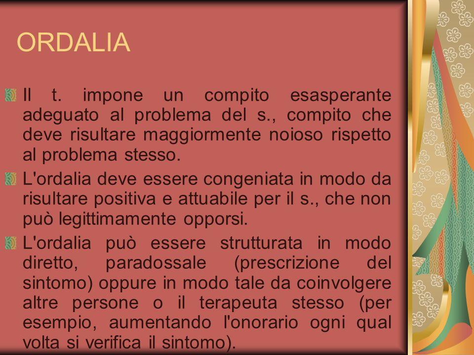 ORDALIA Il t. impone un compito esasperante adeguato al problema del s., compito che deve risultare maggiormente noioso rispetto al problema stesso.