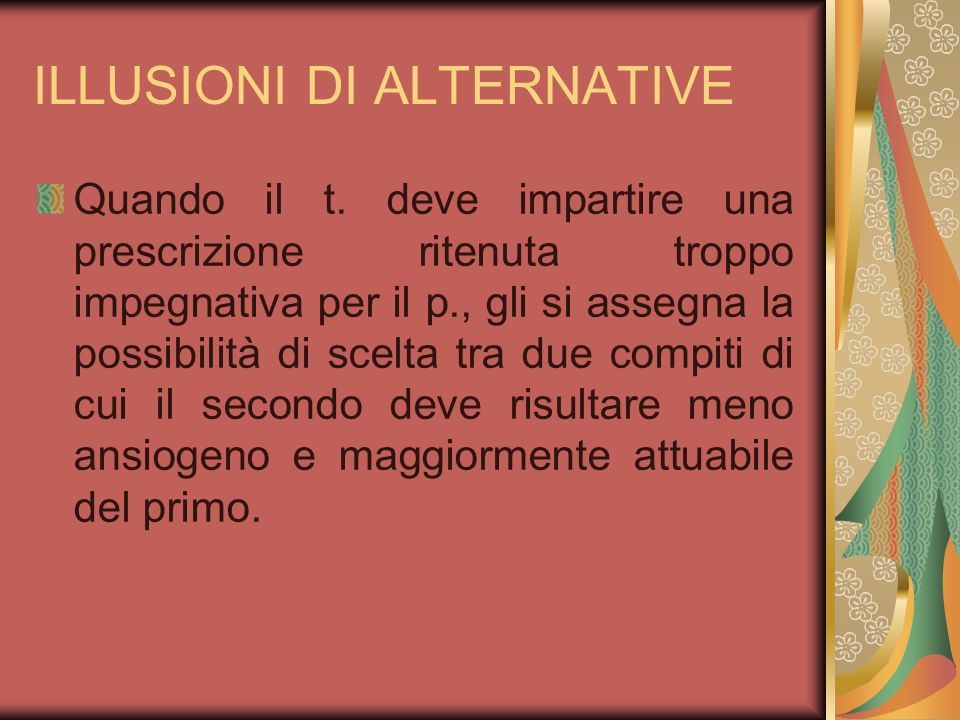 ILLUSIONI DI ALTERNATIVE