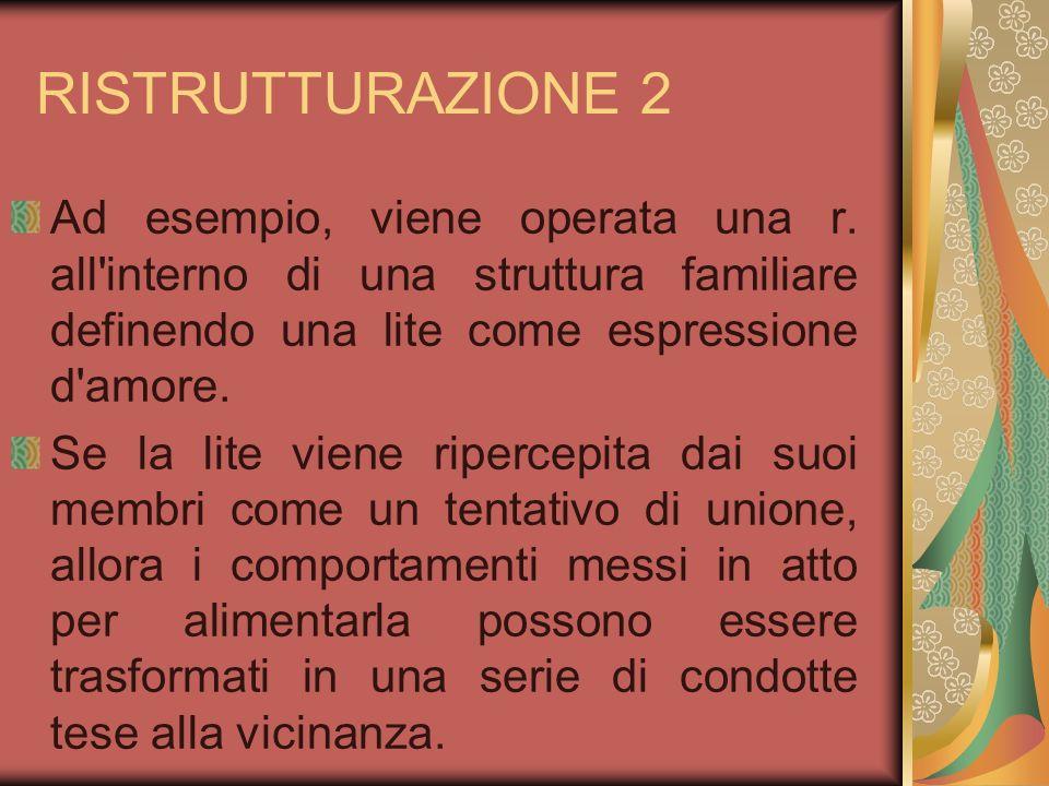 RISTRUTTURAZIONE 2 Ad esempio, viene operata una r. all interno di una struttura familiare definendo una lite come espressione d amore.