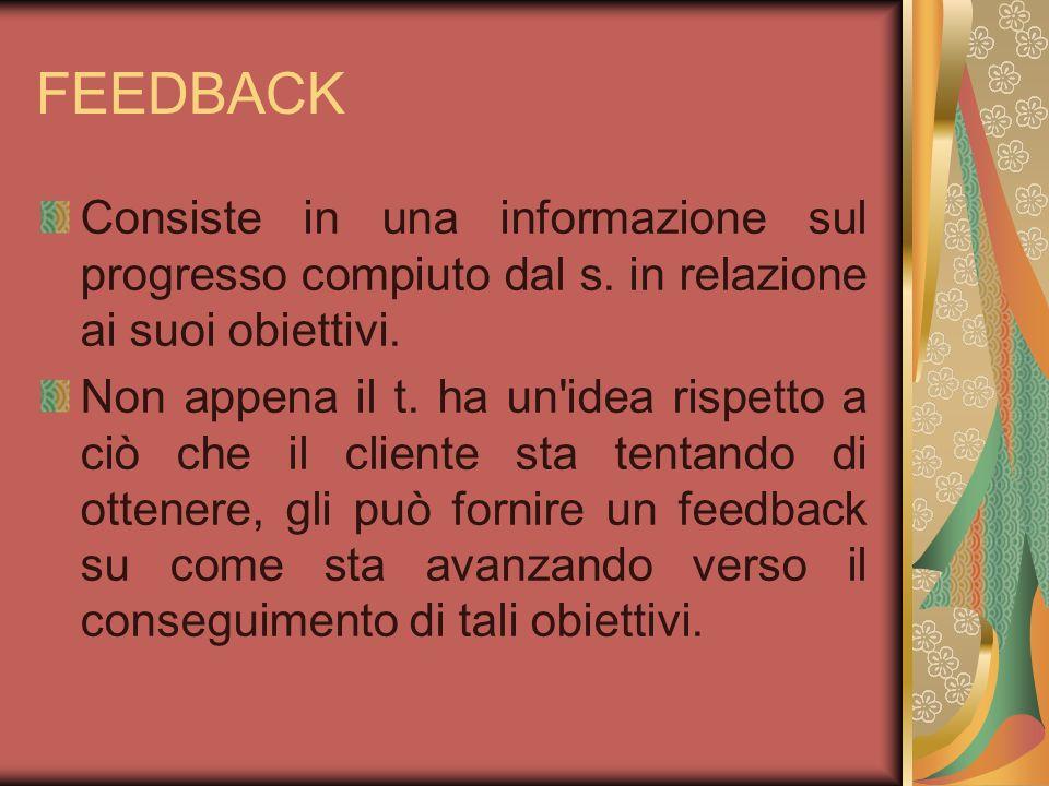 FEEDBACK Consiste in una informazione sul progresso compiuto dal s. in relazione ai suoi obiettivi.