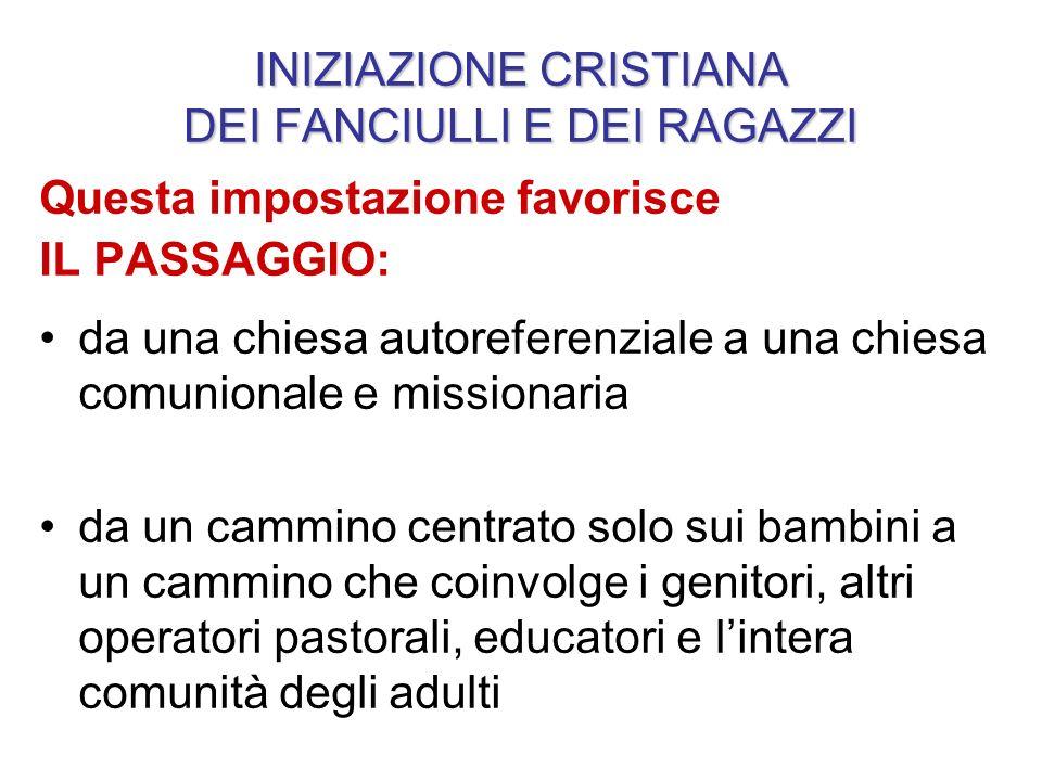 INIZIAZIONE CRISTIANA DEI FANCIULLI E DEI RAGAZZI