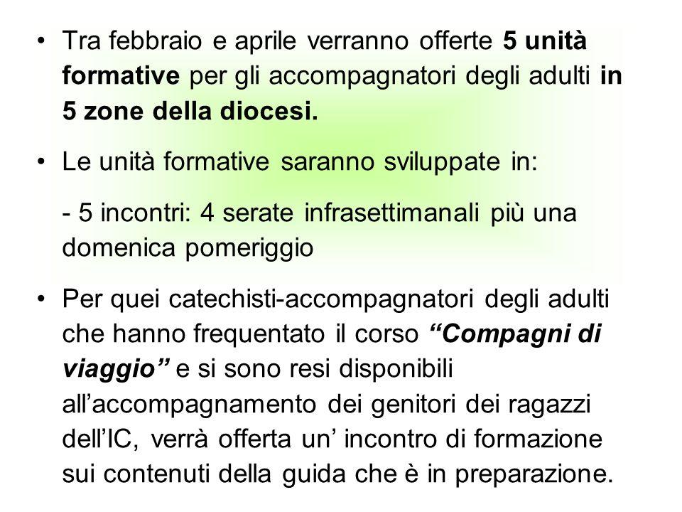 Tra febbraio e aprile verranno offerte 5 unità formative per gli accompagnatori degli adulti in 5 zone della diocesi.