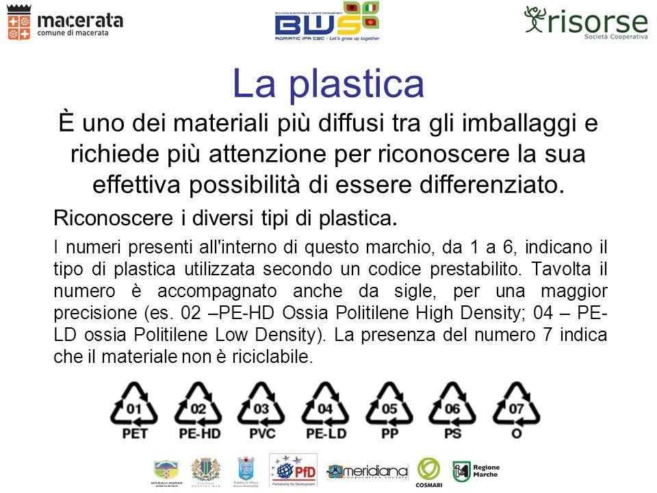 La plastica È uno dei materiali più diffusi tra gli imballaggi e richiede più attenzione per riconoscere la sua effettiva possibilità di essere differenziato.