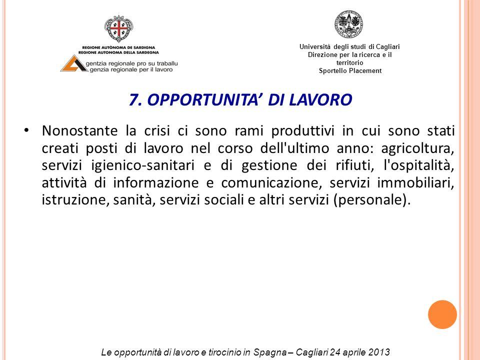 7. OPPORTUNITA' DI LAVORO