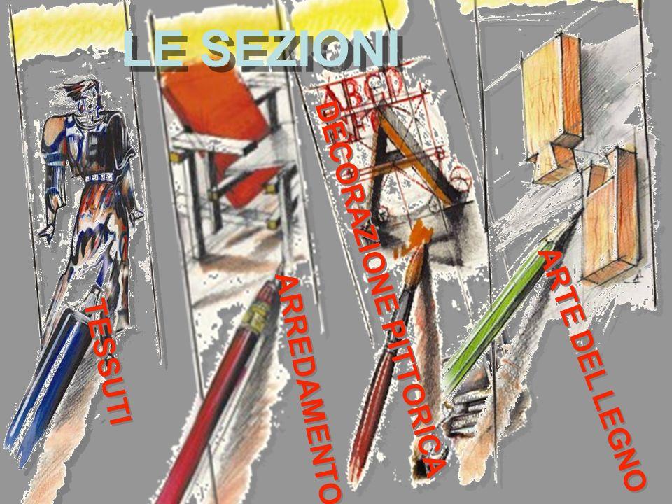 LE SEZIONI DECORAZIONE PITTORICA ARTE DEL LEGNO ARREDAMENTO TESSUTI