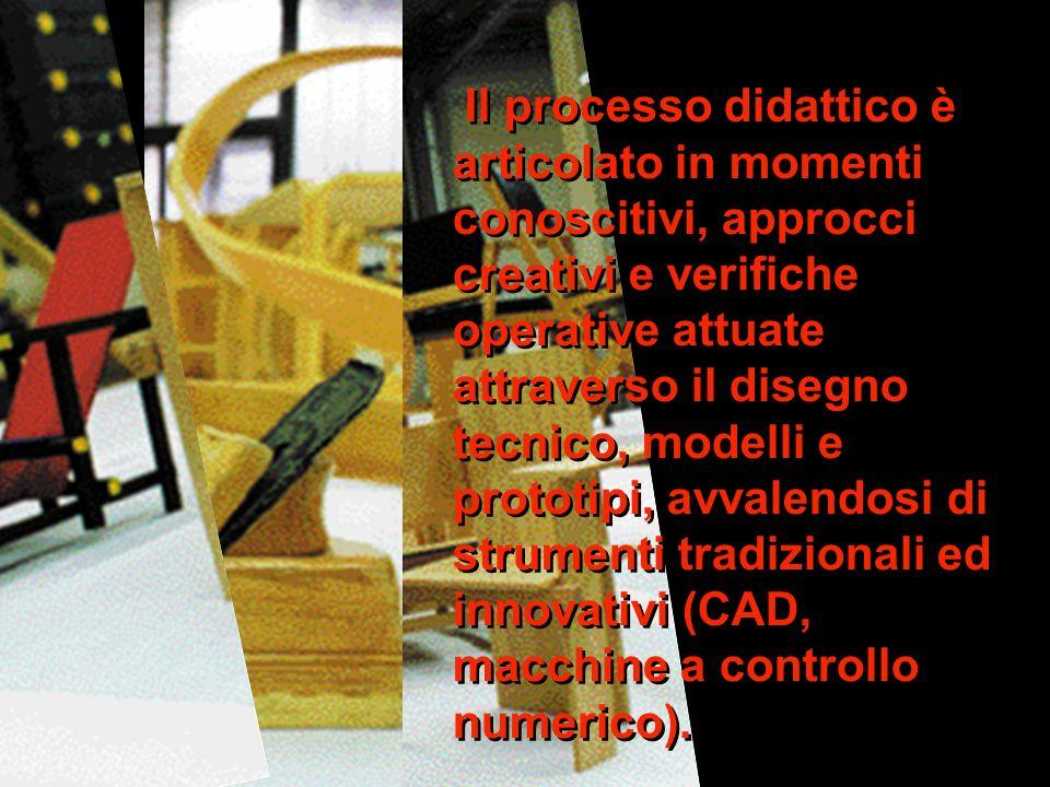 Il processo didattico è articolato in momenti conoscitivi, approcci creativi e verifiche operative attuate attraverso il disegno tecnico, modelli e prototipi, avvalendosi di strumenti tradizionali ed innovativi (CAD, macchine a controllo numerico).