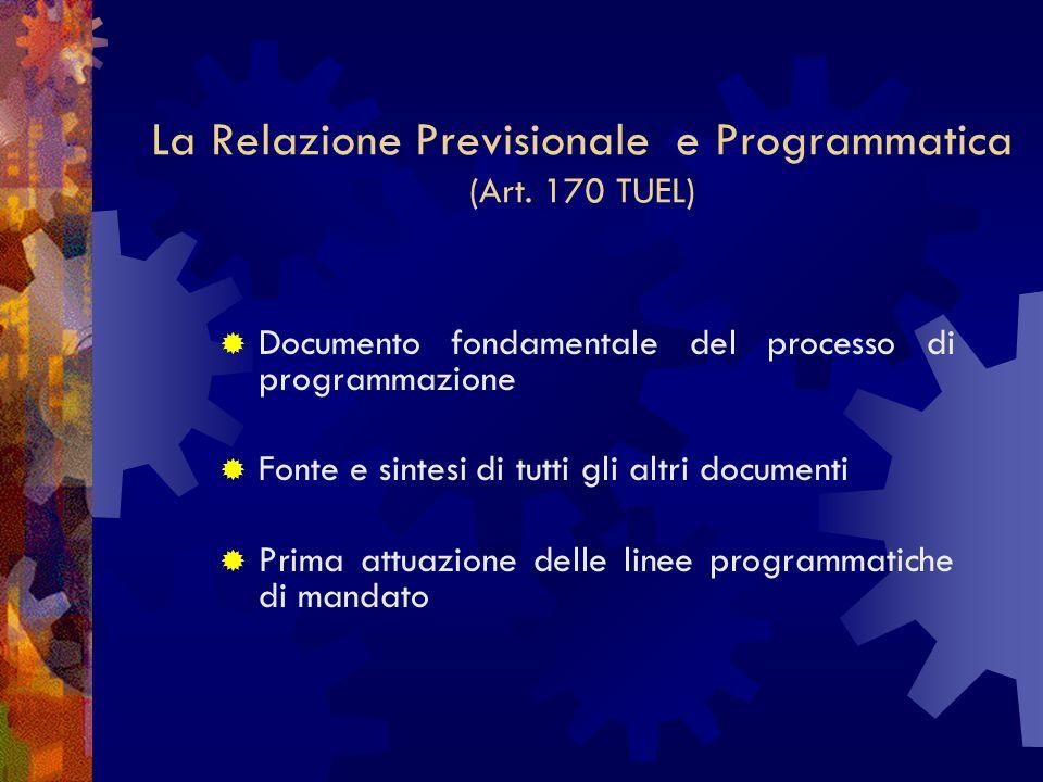 La Relazione Previsionale e Programmatica (Art. 170 TUEL)