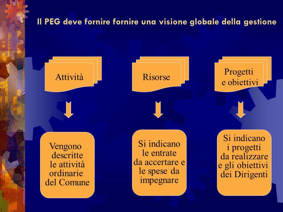 Il PEG deve fornire fornire una visione globale della gestione