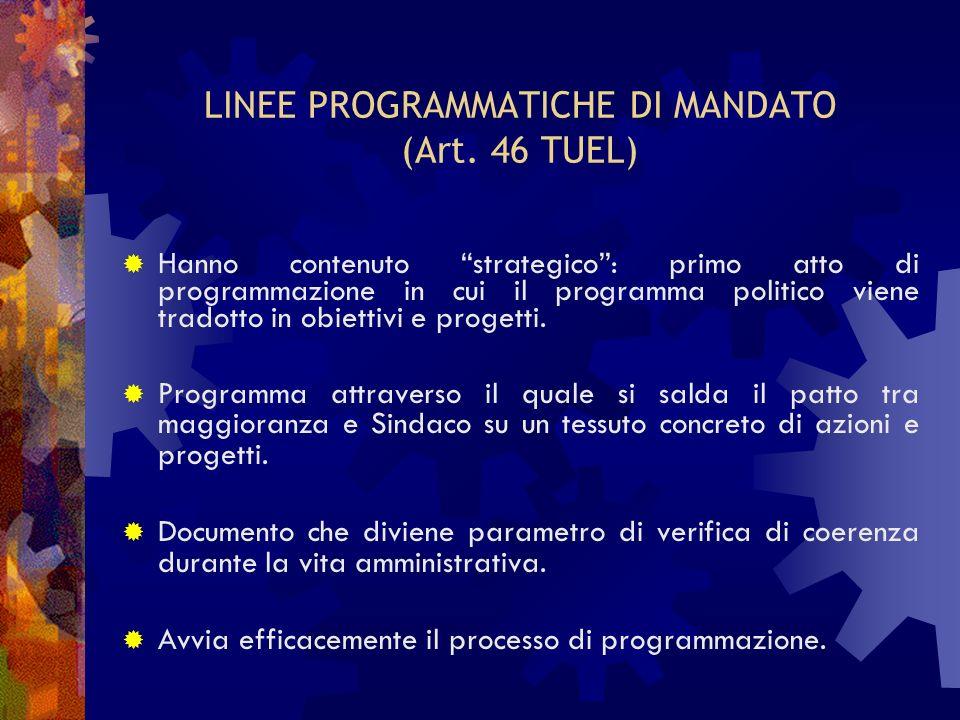 LINEE PROGRAMMATICHE DI MANDATO (Art. 46 TUEL)