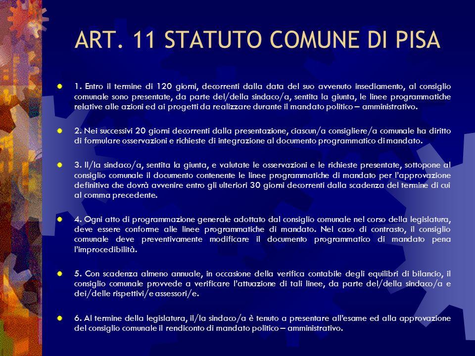 ART. 11 STATUTO COMUNE DI PISA