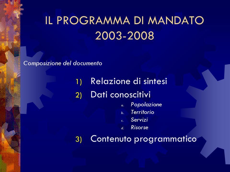 IL PROGRAMMA DI MANDATO 2003-2008
