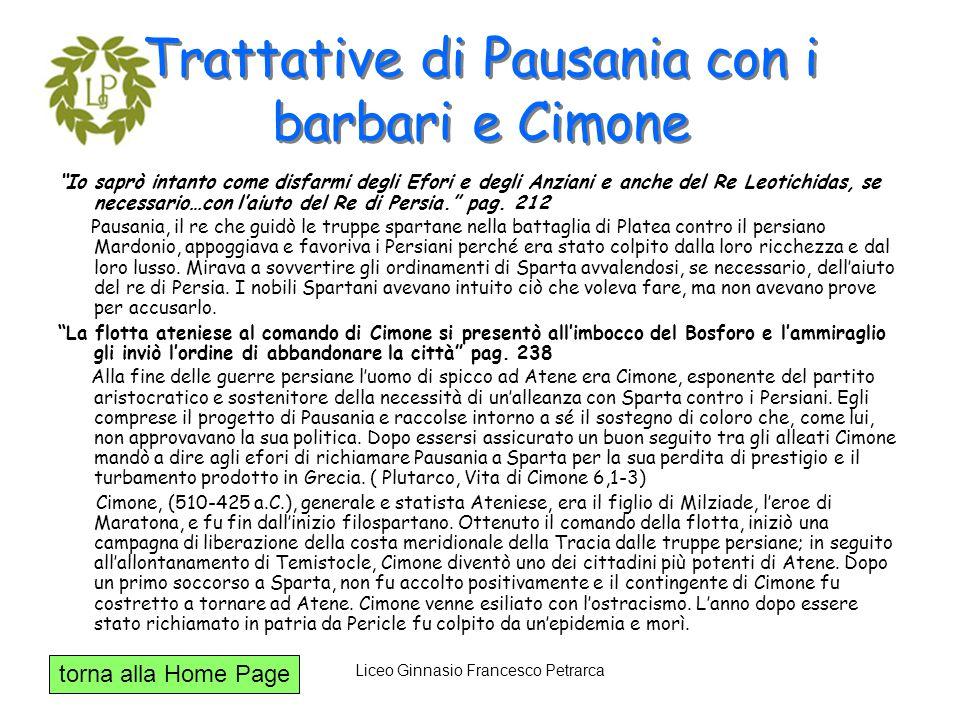 Trattative di Pausania con i barbari e Cimone