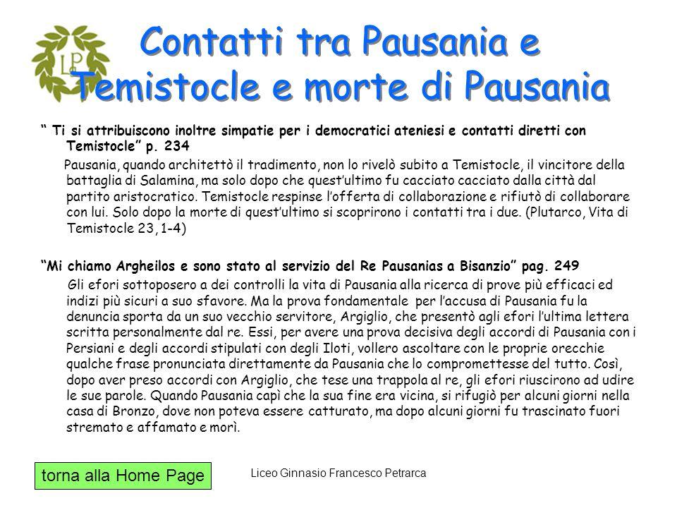 Contatti tra Pausania e Temistocle e morte di Pausania