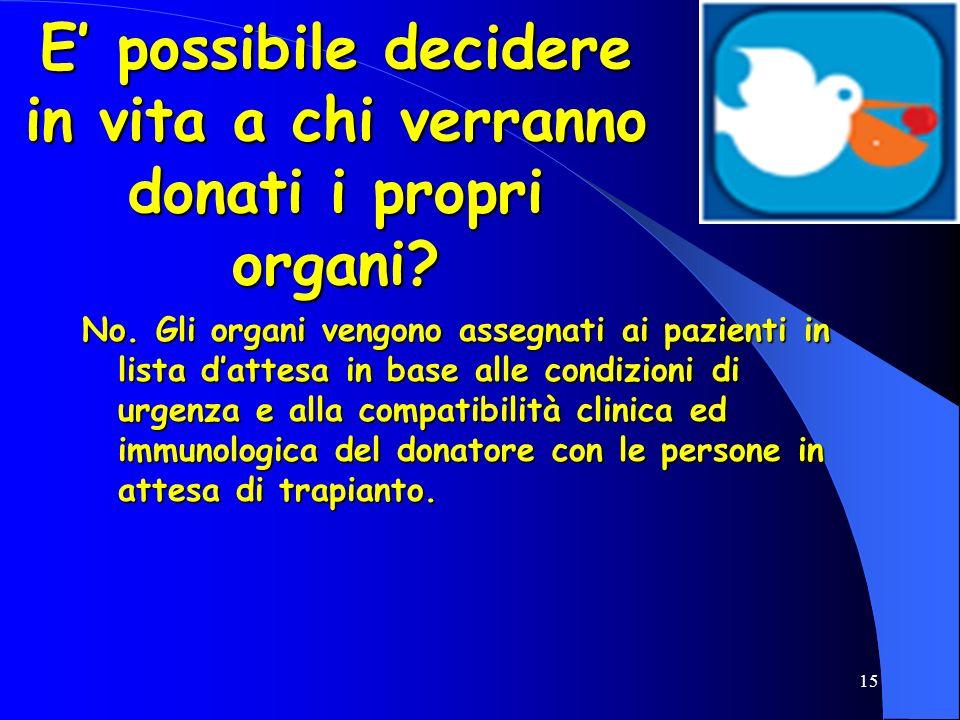 E' possibile decidere in vita a chi verranno donati i propri organi