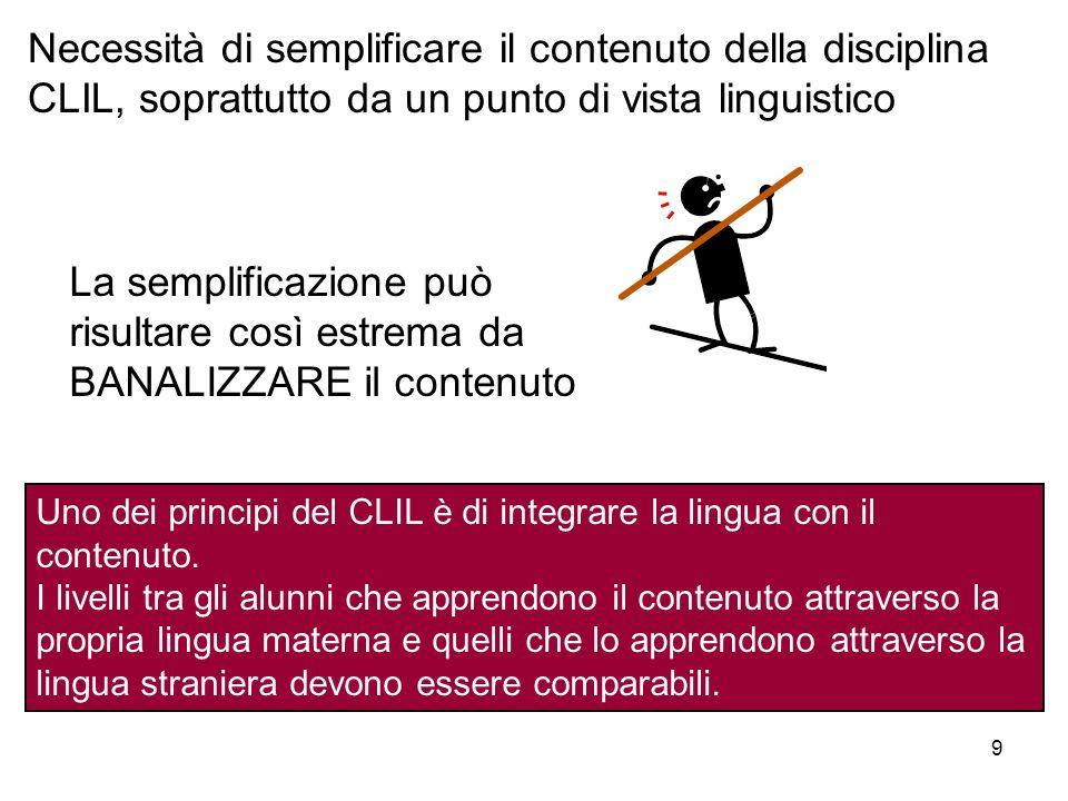 Necessità di semplificare il contenuto della disciplina CLIL, soprattutto da un punto di vista linguistico