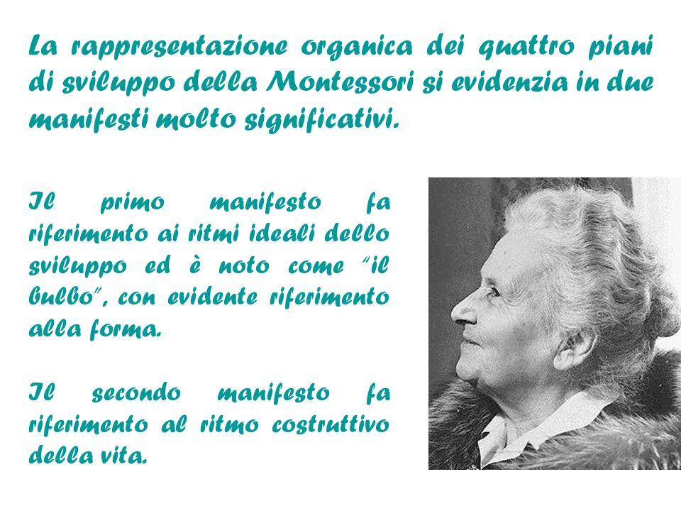 La rappresentazione organica dei quattro piani di sviluppo della Montessori si evidenzia in due manifesti molto significativi.