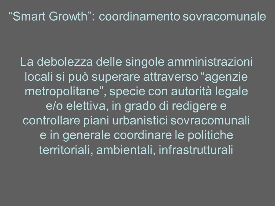Smart Growth : coordinamento sovracomunale