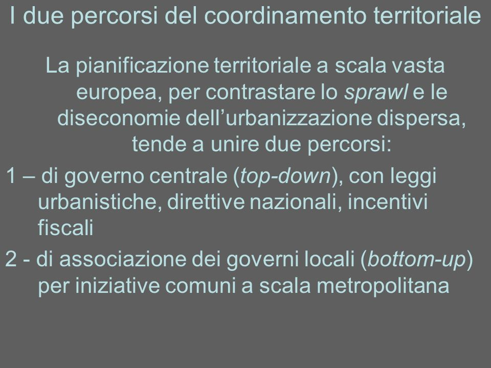 I due percorsi del coordinamento territoriale
