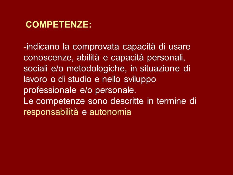 COMPETENZE: -indicano la comprovata capacità di usare conoscenze, abilità e capacità personali, sociali e/o metodologiche, in situazione di lavoro o di studio e nello sviluppo professionale e/o personale. Le competenze sono descritte in termine di responsabilità e autonomia
