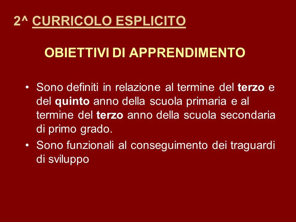 2^ CURRICOLO ESPLICITO OBIETTIVI DI APPRENDIMENTO
