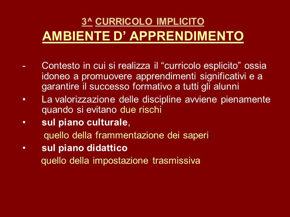 3^ CURRICOLO IMPLICITO AMBIENTE D' APPRENDIMENTO