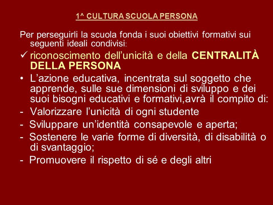 1^ CULTURA SCUOLA PERSONA