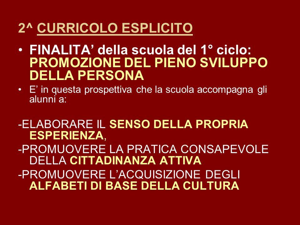 2^ CURRICOLO ESPLICITO FINALITA' della scuola del 1° ciclo: PROMOZIONE DEL PIENO SVILUPPO DELLA PERSONA.