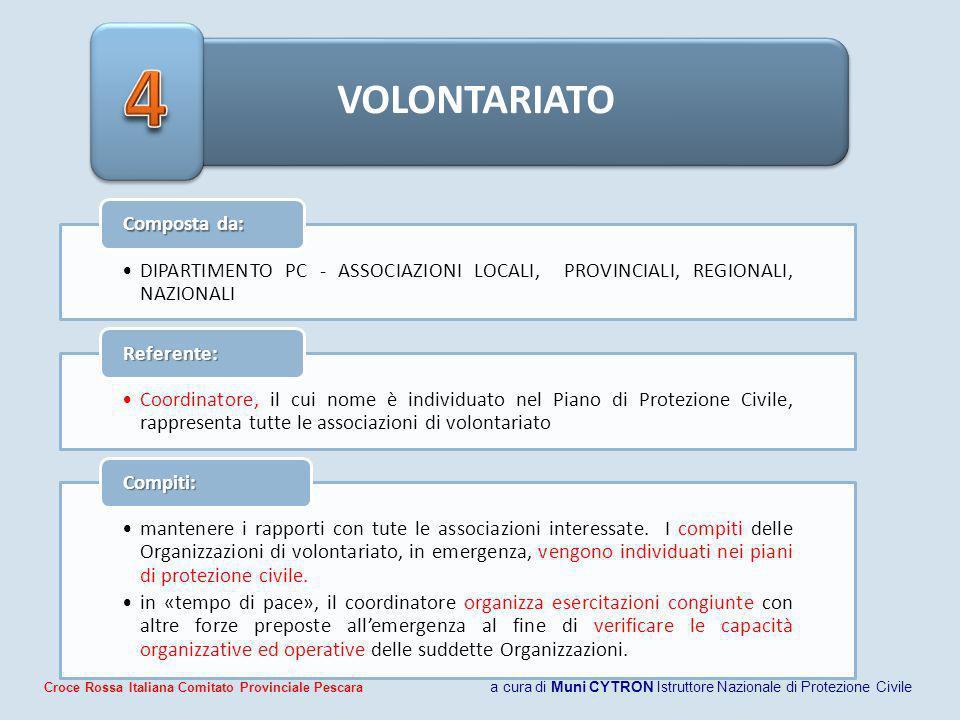 4 VOLONTARIATO. Composta da: DIPARTIMENTO PC - ASSOCIAZIONI LOCALI, PROVINCIALI, REGIONALI, NAZIONALI.