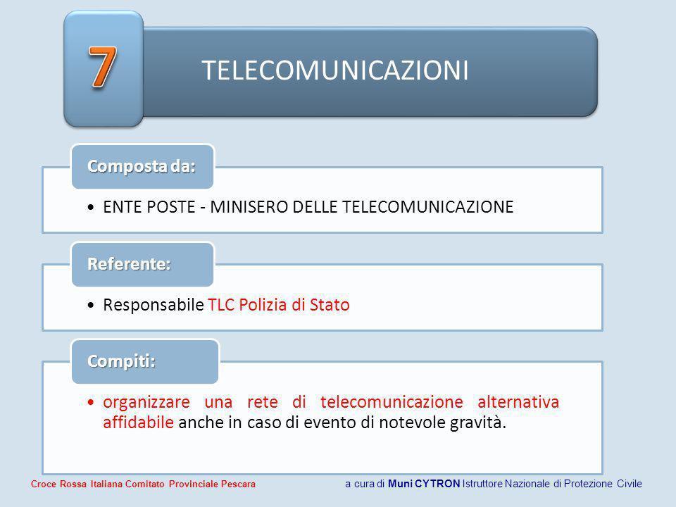 7 TELECOMUNICAZIONI. Composta da: ENTE POSTE - MINISERO DELLE TELECOMUNICAZIONE. Referente: Responsabile TLC Polizia di Stato.