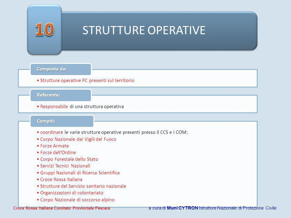 10 STRUTTURE OPERATIVE. Composta da: Strutture operative PC presenti sul territorio. Referente: Responsabile di una struttura operativa.