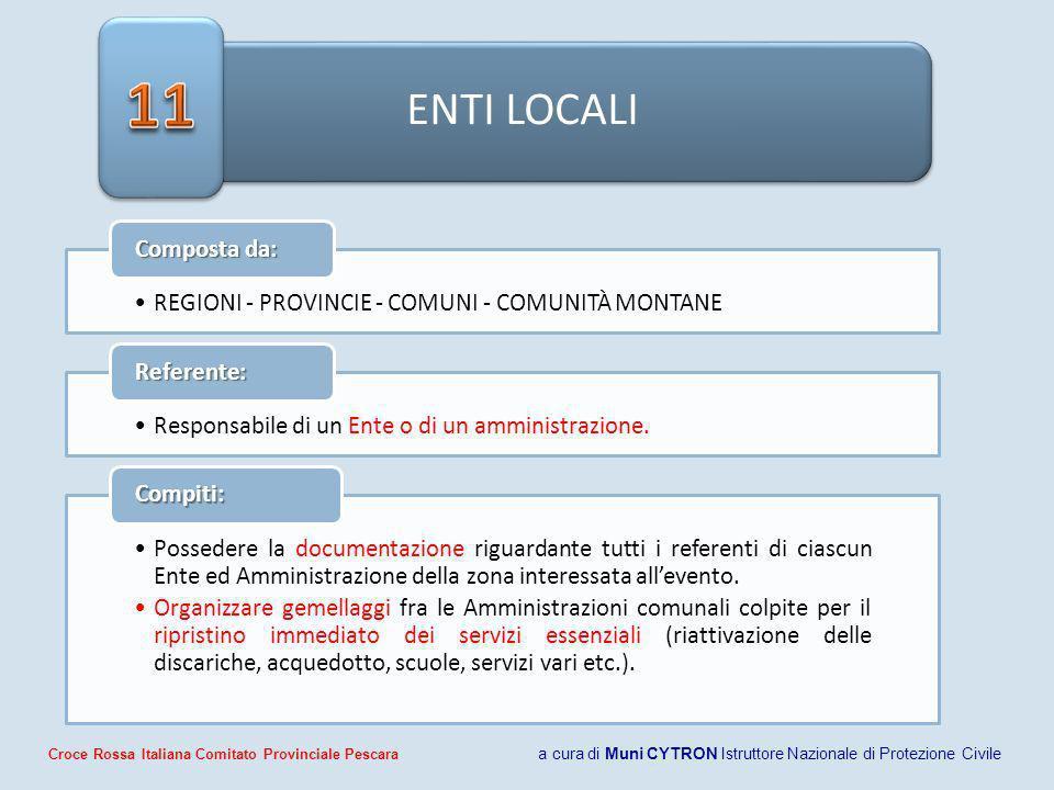 11 ENTI LOCALI. Composta da: REGIONI - PROVINCIE - COMUNI - COMUNITÀ MONTANE. Referente: Responsabile di un Ente o di un amministrazione.