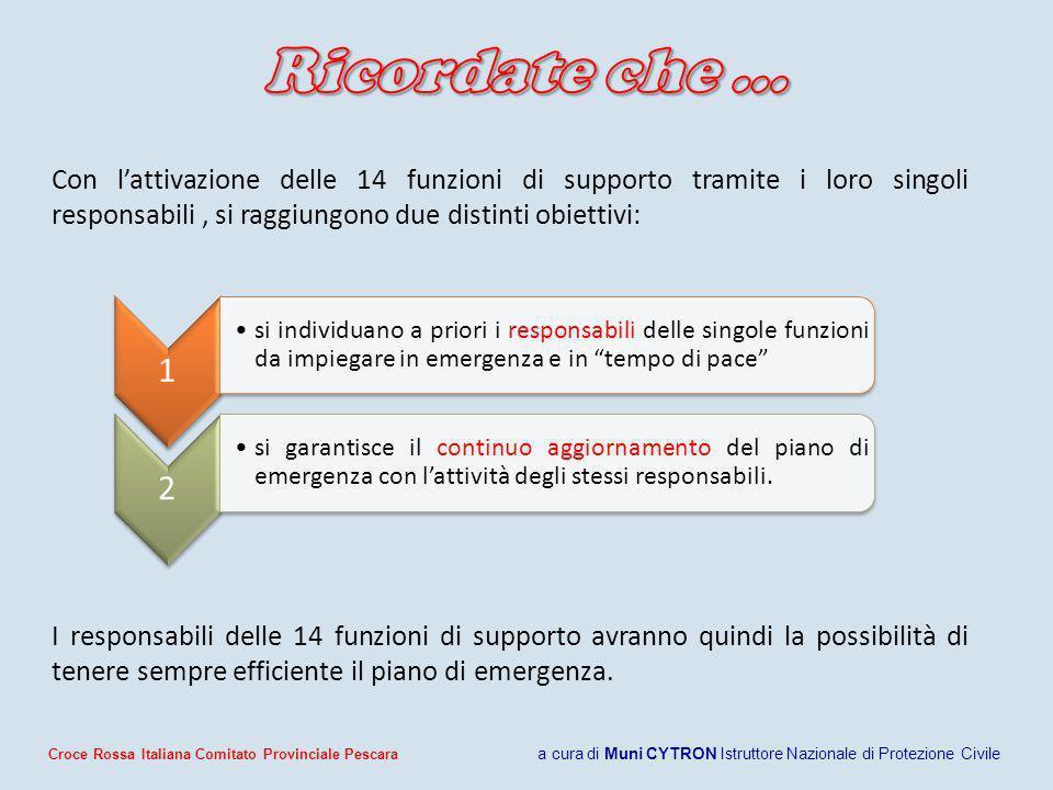 Ricordate che … Con l'attivazione delle 14 funzioni di supporto tramite i loro singoli responsabili , si raggiungono due distinti obiettivi: