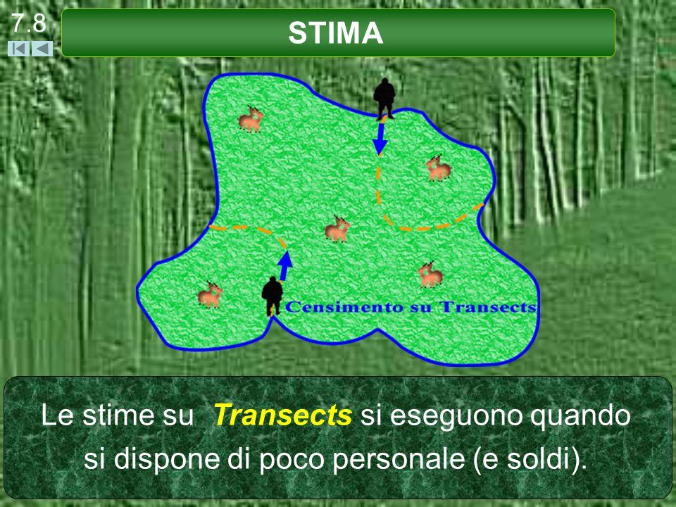 7.8 STIMA Le stime su Transects si eseguono quando si dispone di poco personale (e soldi).
