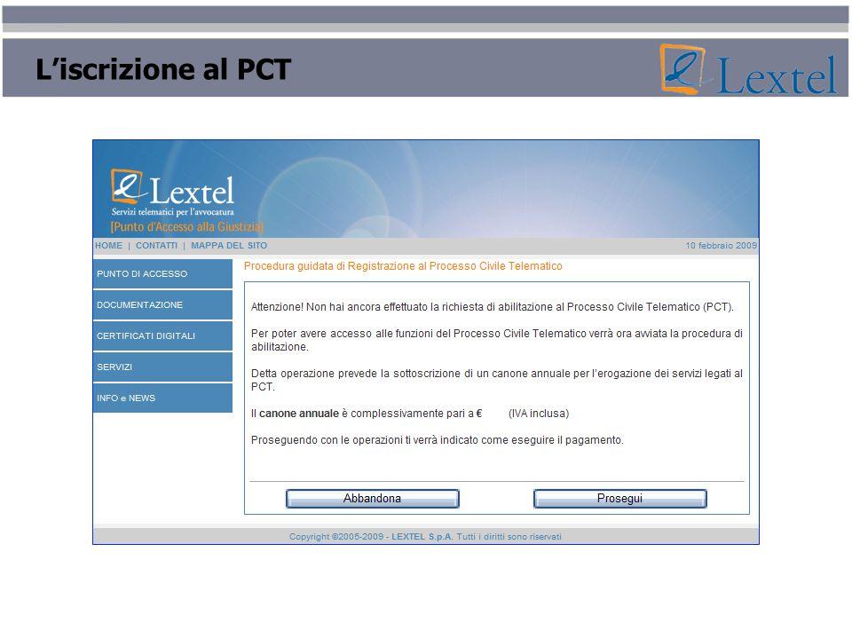 L'iscrizione al PCT