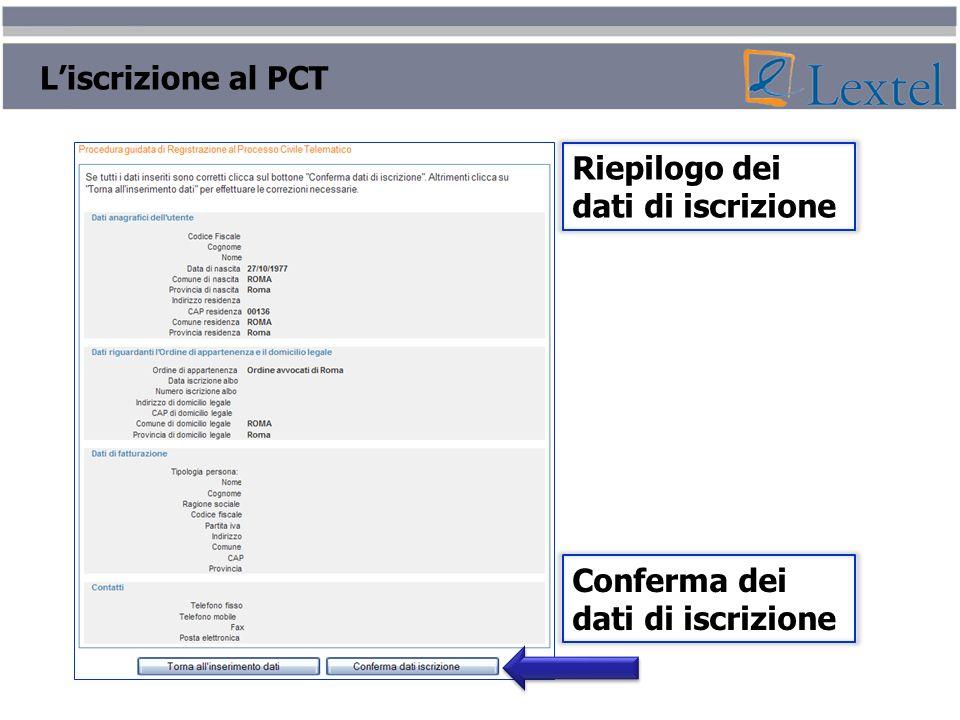 L'iscrizione al PCT Riepilogo dei dati di iscrizione Conferma dei dati di iscrizione