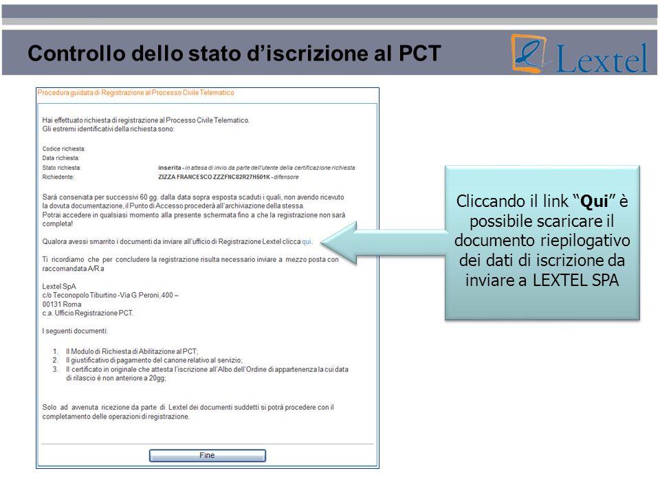 Controllo dello stato d'iscrizione al PCT