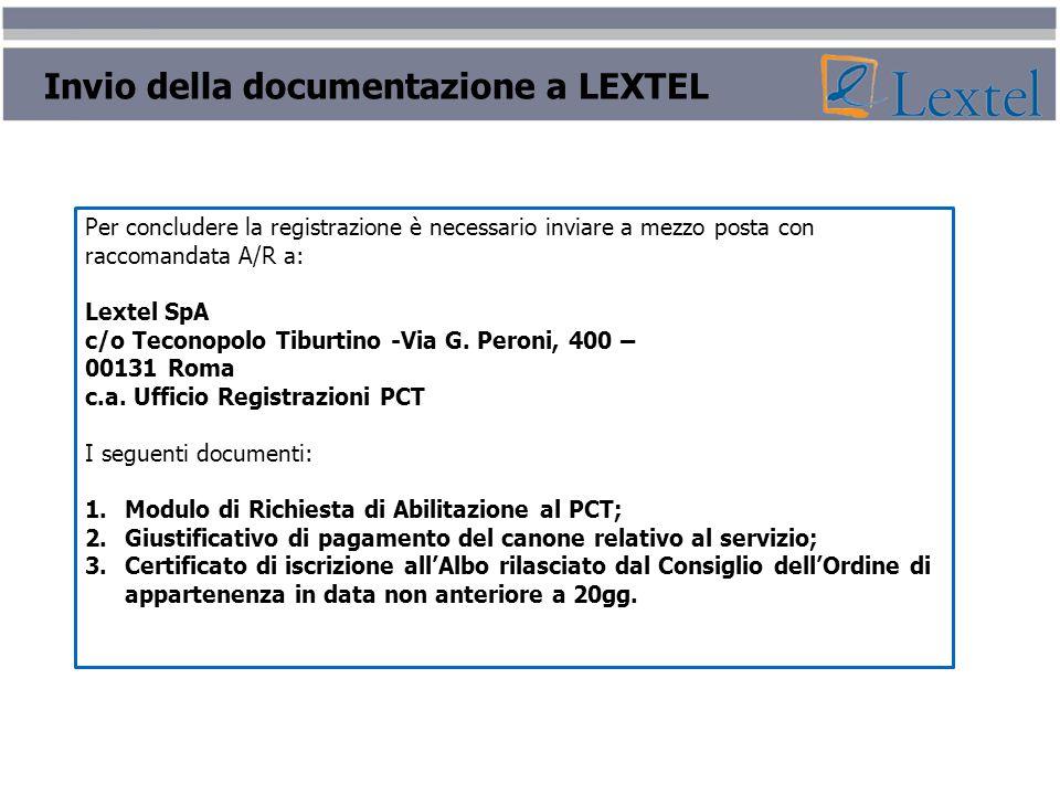 Invio della documentazione a LEXTEL