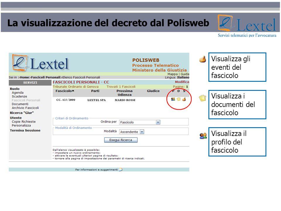 La visualizzazione del decreto dal Polisweb