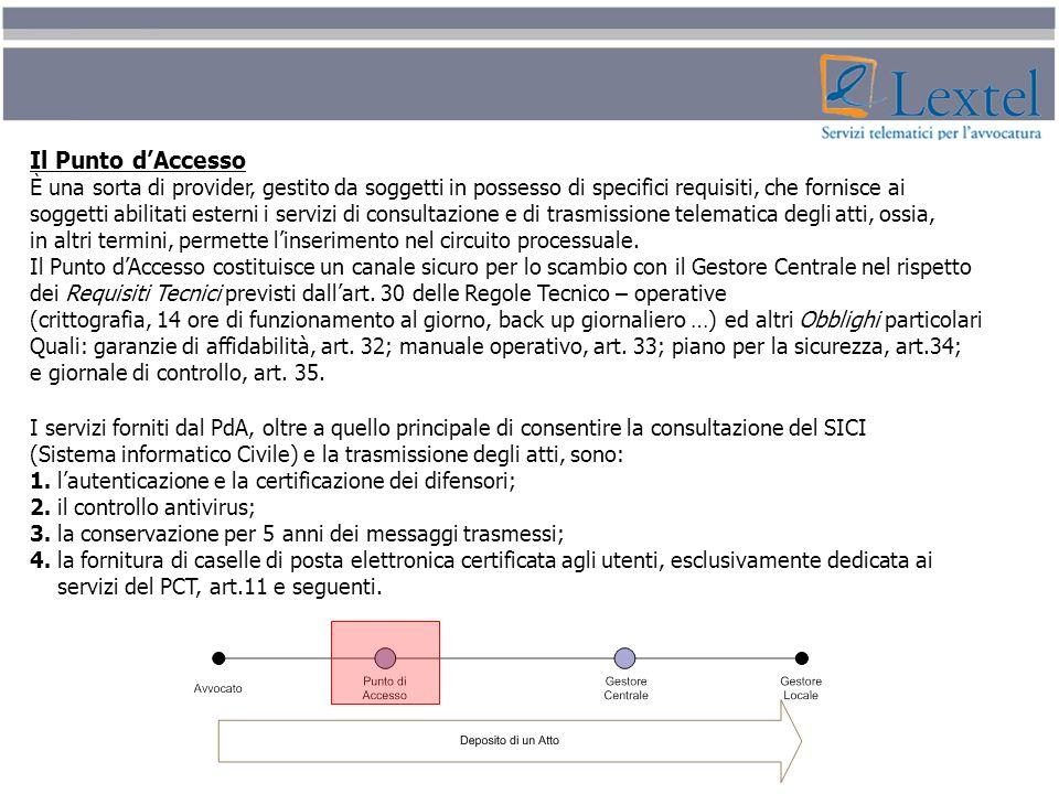 Il Punto d'Accesso È una sorta di provider, gestito da soggetti in possesso di specifici requisiti, che fornisce ai.